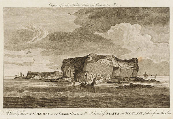 Basalt Drawing - Basalt Columns Over Shag's Cave by Mary Evans Picture Library