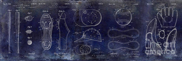 Wall Art - Photograph - Baseball Patent Blue by Jon Neidert