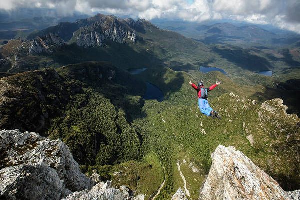 Base Jumping Photograph - Base Jumper In Free Fall, New South by Kamil Sustiak