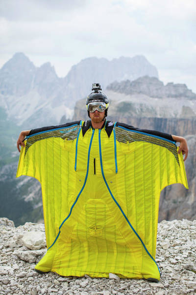 Base Jumping Photograph - Base Jumper Showing Wingsuit by Woods Wheatcroft