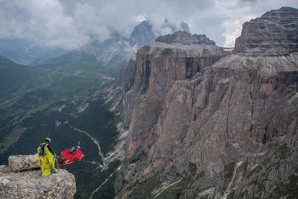 Base Jumping Photograph - Base Jumpers In The Mountains by Woods Wheatcroft