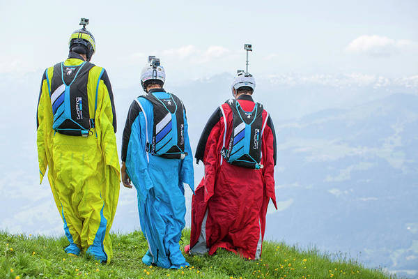 Base Jumping Photograph - Base Jumpers In Wingsuits Ready To Jump by Woods Wheatcroft