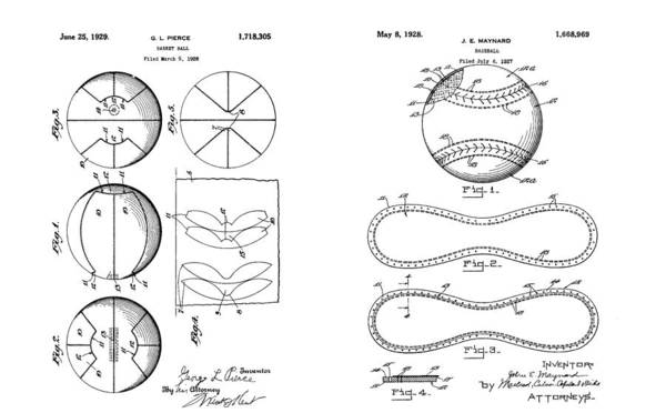 Nba Drawing - Baseball Basketball Patent Illustration by Dan Sproul