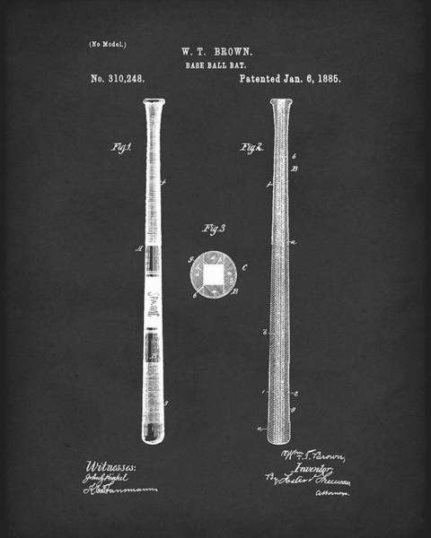 Drawing - Baseball Bat 1885 Patent Art Black by Prior Art Design