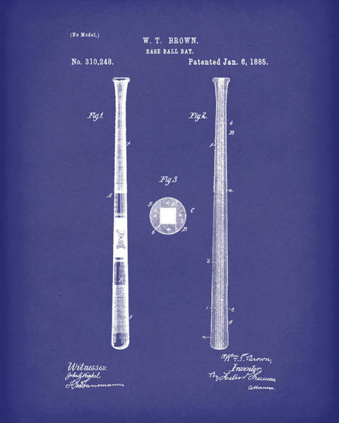 Drawing - Baseball Bat 1885 Patent Art Blue by Prior Art Design