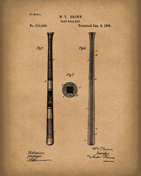 Drawing - Baseball Bat 1885 Patent Art Brown by Prior Art Design