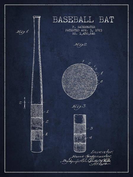 Baseball Bat Patent Wall Art - Digital Art - Baseball Bat Patent Drawing From 1923 by Aged Pixel