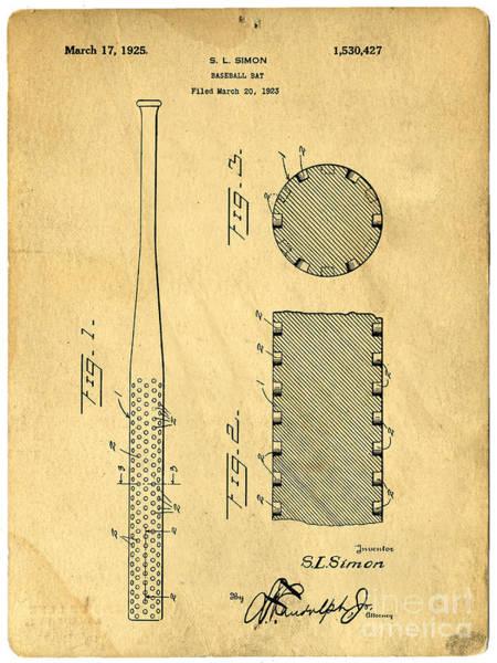 Photograph - Baseball Bat Patent by Edward Fielding