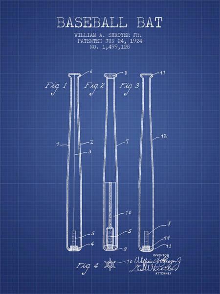 Baseball Bat Patent Wall Art - Drawing - Baseball Bat Patent From 1924 - Blueprint by Aged Pixel