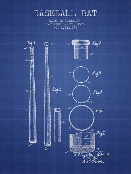 Baseball Bat Patent Wall Art - Drawing - Baseball Bat Patent From 1926 - Blueprint by Aged Pixel