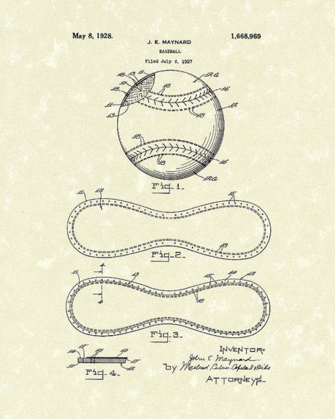 Wall Art - Drawing - Baseball By Maynard 1928 Patent Art by Prior Art Design