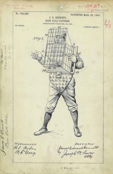 Baseball Catcher Patent Art Print