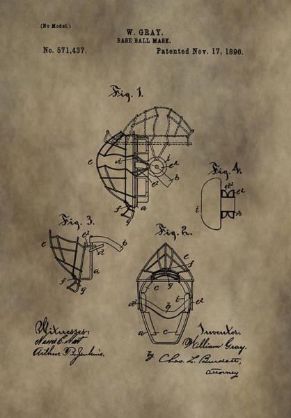 Wall Art - Digital Art - Baseball Catcher's Mask Patent by Dan Sproul