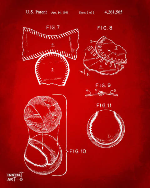 Wall Art - Digital Art - Baseball Construction Patent 2 - Red by Nikki Marie Smith