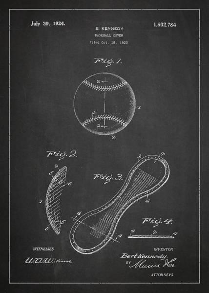 Baseball Bat Patent Wall Art - Digital Art - Baseball Cover Patent Drawing From 1923 by Aged Pixel