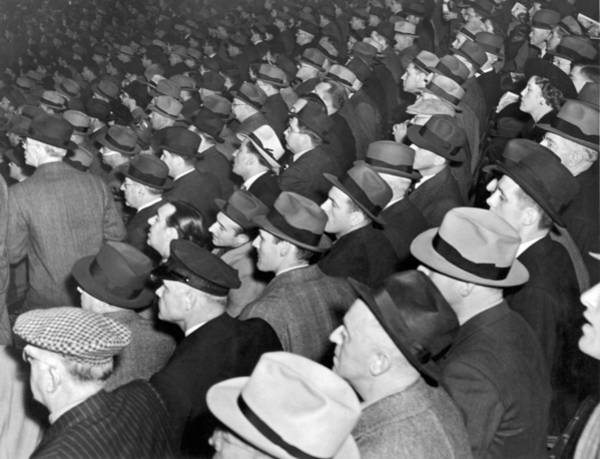 Nightime Photograph - Baseball Fans At Yankee Stadium For The Third Game Of The World by Underwood Archives