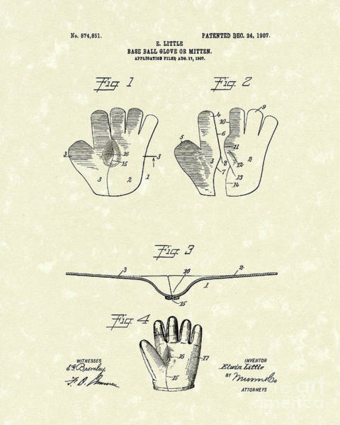 Wall Art - Drawing - Baseball Glove 1907 Patent Art by Prior Art Design