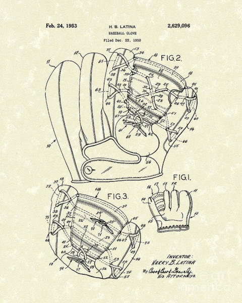 Wall Art - Drawing - Baseball Glove 1953 Patent Art by Prior Art Design