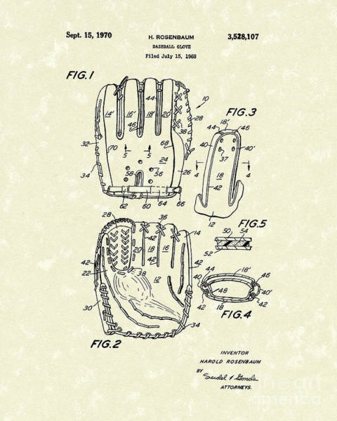Wall Art - Drawing - Baseball Glove 1970 Patent Art by Prior Art Design
