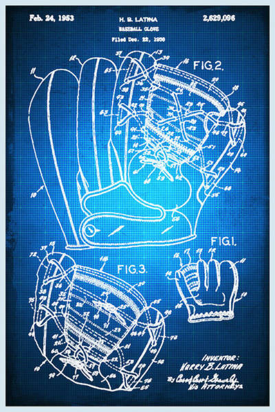 Mixed Media - Baseball Glove Patent Blueprint Drawing by Tony Rubino