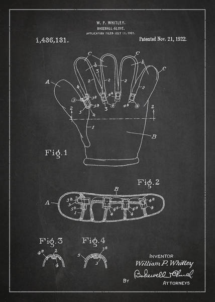 Wall Art - Digital Art - Baseball Glove Patent Drawing From 1922 by Aged Pixel