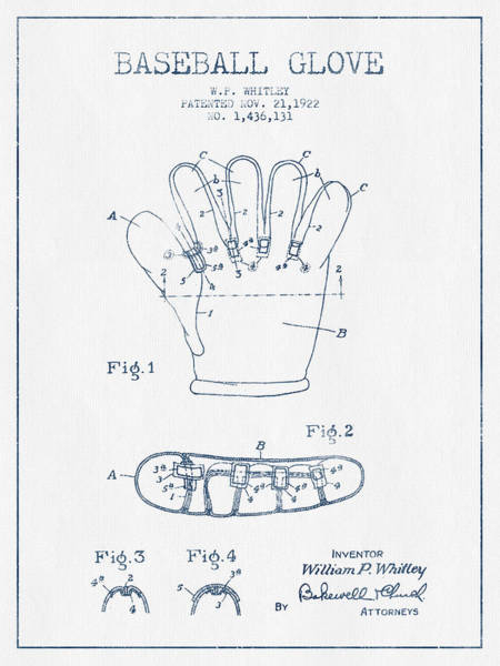 Gloves Digital Art - Baseball Glove Patent Drawing From 1922 - Blue Ink by Aged Pixel