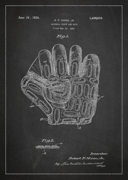 Gloves Digital Art - Baseball Glove Patent Drawing From 1923 by Aged Pixel