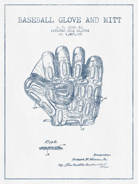 Gloves Digital Art - Baseball Glove Patent Drawing From 1924 - Blue Ink by Aged Pixel