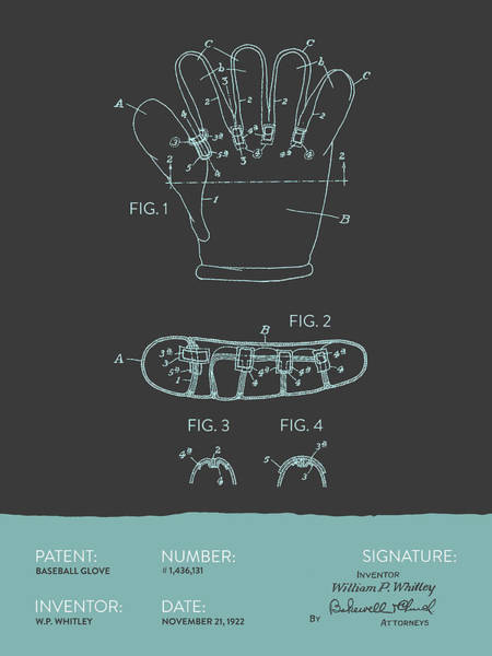 Gloves Digital Art - Baseball Glove Patent From 1922 - Gray Blue by Aged Pixel