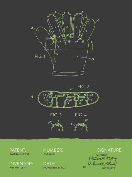 Gloves Digital Art - Baseball Glove Patent From 1922 - Gray Green by Aged Pixel