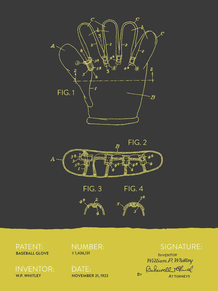 Gloves Digital Art - Baseball Glove Patent From 1922 - Gray Yellow by Aged Pixel