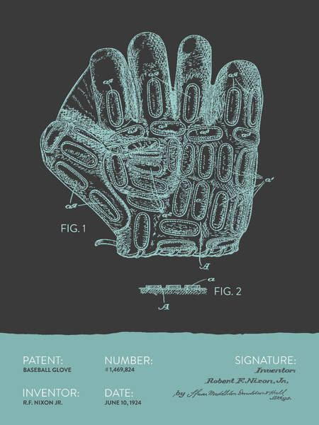 Gloves Digital Art - Baseball Glove Patent From 1924 - Gray Blue by Aged Pixel