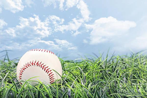 Softball Photograph - Baseball In Grass by Stephanie Frey