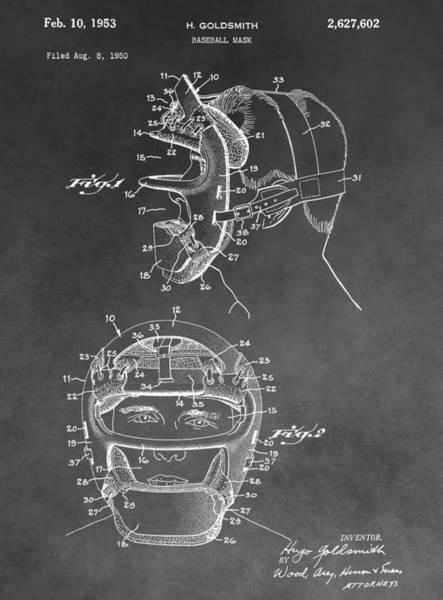 Wall Art - Digital Art - Baseball Mask Patent Black And White by Dan Sproul