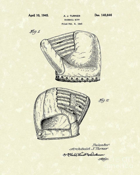 Wall Art - Drawing - Baseball Mitt 1945 Patent Art by Prior Art Design
