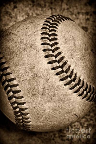 Baseballs Photograph - Baseball Old And Worn by Paul Ward
