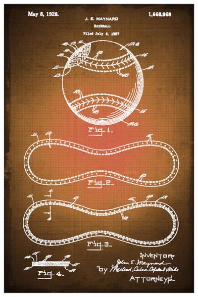 Drawing - Baseball Patent Blueprint Drawing Sepia by Tony Rubino