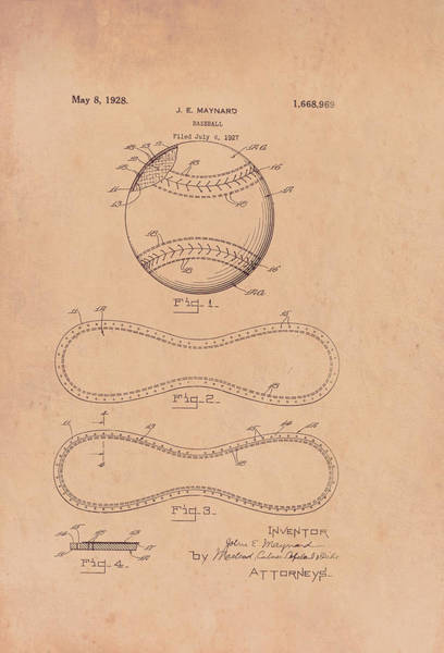Cowhide Wall Art - Drawing - Baseball Patent 1928 by Mountain Dreams