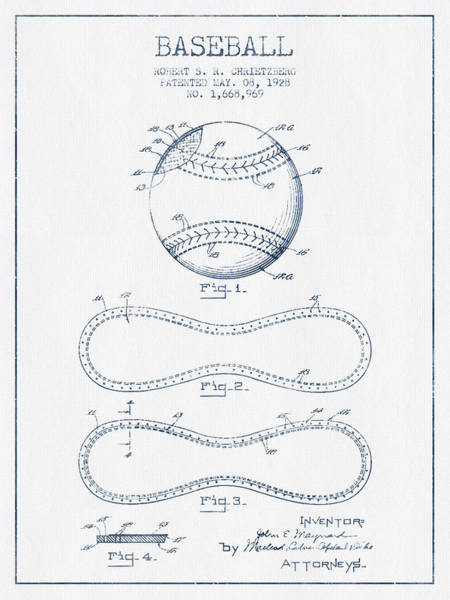Patent Application Wall Art - Digital Art - Baseball Patent Drawing From 1928 - Blue Ink by Aged Pixel