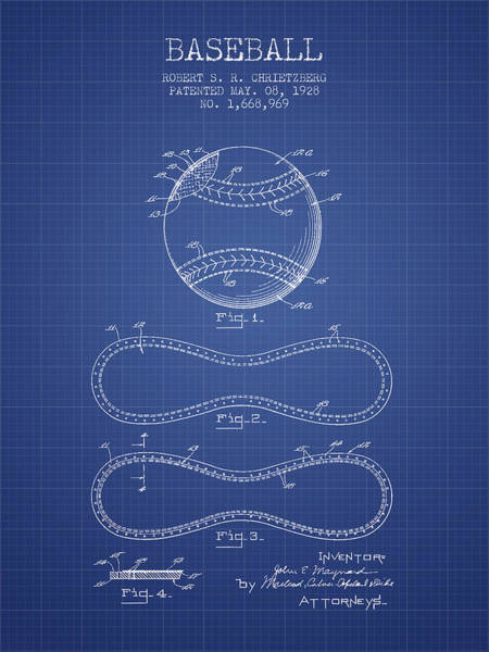 Patent Application Wall Art - Drawing - Baseball Patent From 1928 - Blueprint by Aged Pixel