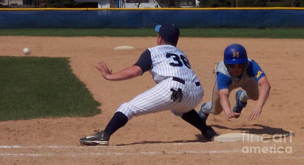 Hs Photograph - Baseball Pick Off Attempt by Thomas Woolworth