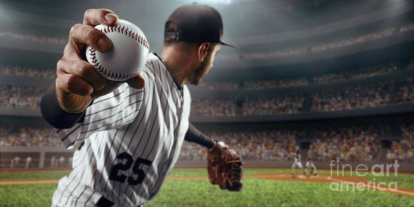 Gloves Photograph - Baseball Player Throws The Ball On by Alex Kravtsov
