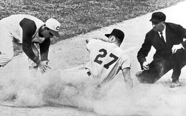 Gene Photograph - Baseball Runner Out At Third by Underwood Archives