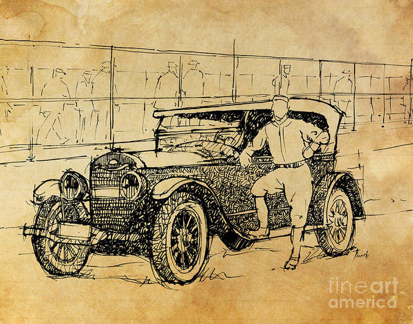 Old Car Drawing - Baseball Star On A New Ford by Drawspots Illustrations