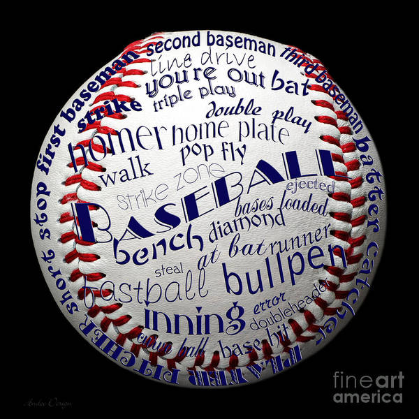 Digital Art - Baseball Terms Typography 1 by Andee Design