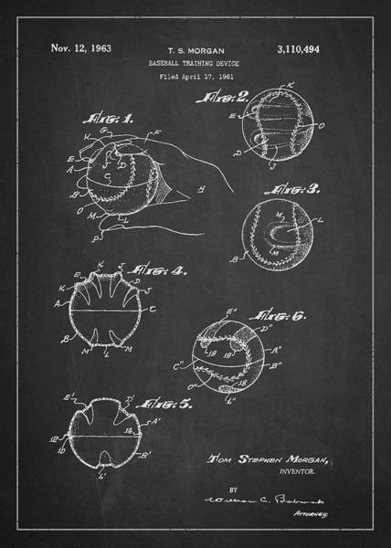 Wall Art - Digital Art - Baseball Training Device Patent Drawing From 1961 by Aged Pixel