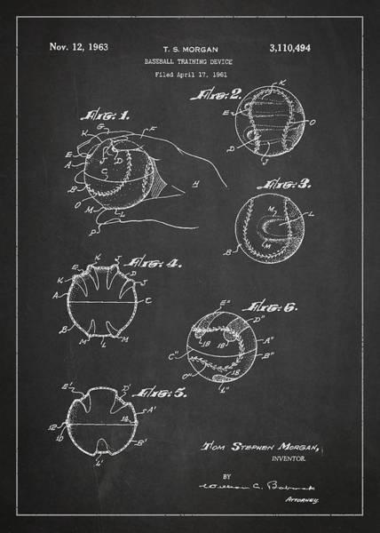 Baseball Bat Patent Wall Art - Digital Art - Baseball Training Device Patent Drawing From 1961 by Aged Pixel