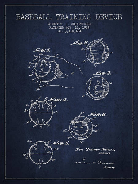 Wall Art - Digital Art - Baseball Training Device Patent Drawing From 1963 by Aged Pixel