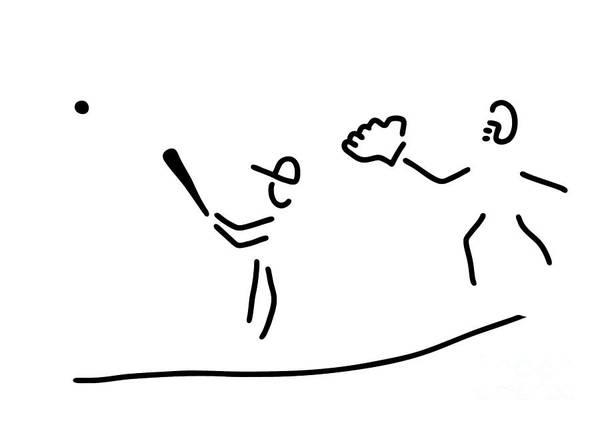 Lineart Drawing - Baseball Usa Sport by Lineamentum