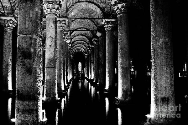 Basilica Cistern Photograph - Basilica Cistern In Black And White by Emily Kay